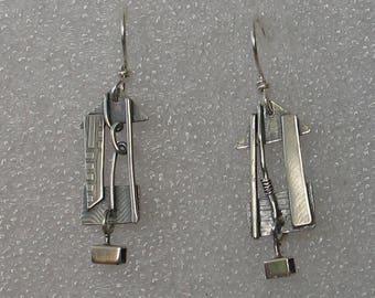 Funky Sterling House Shape Earrings