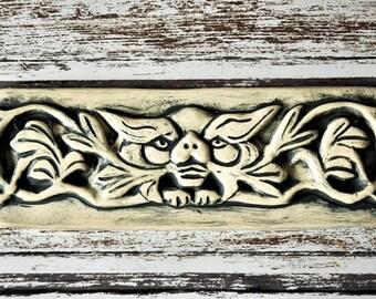 Cat Creature/Familiar Reproduction, Green or Black Wash, Wall Hanging, plaque, tile, Pagan Art, Gargoyle
