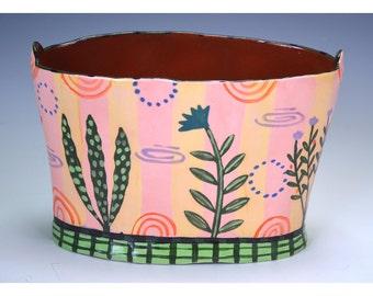 Flower bucket vase, small vase, vase with landscape, striped vase
