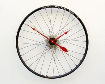 Bike Wheel Clock, Cyclist Gift, Large Wall Clock, Unique Wedding Gift, Steampunk Decor, Bicycle Wall Clock, Modern Wall Clock, recycled gift