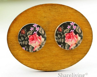 Buy 1 Get 1 Free - Vintage Rose Cabochon Button, 12mm 15mm 20mm  Round Handmade Photo Wood Cut Cabochon -- HWC046Q