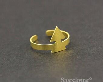 2pcs Raw Brass Triangle  Ring, Adjustable Geometric Brass Rings - TR017