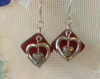 RED beach glass heart earrings with silver plated wires,  vintage broken glass earrings, seaglass inspired