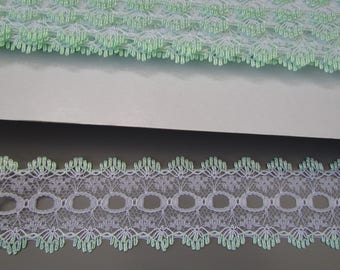 3.5cm Green and White Eyelet insertion Lace top quality x 1 metre