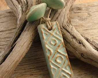 AZTEC PENDANT - Seafoam Green with hints  of Chocolate Brown with Coordinating Beads - Handmade Ceramic Pendant