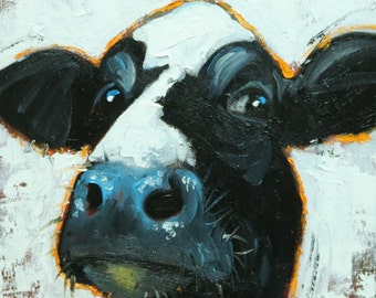 Cow painting 1160 12x12 inch original animal portrait oil painting by Roz