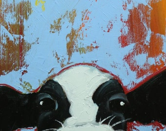Cow painting 1186 12x24 inch original animal portrait oil painting by Roz