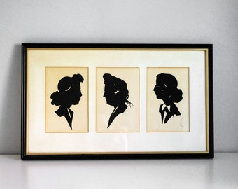 Paper Cut Silhouettes, 1940s Women Portraits, Vintage Folk Art, Americana, Paper Cutting Art, Framed Wall Hanging, Mixed Media Collage