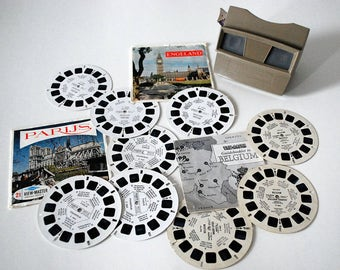 Vintage Sawyer ViewMaster, Stereo Slide Viewer, Europe Slide Reels Discs, 1960s Collectible Toy, Belgium England Paris France, Tourist Slide