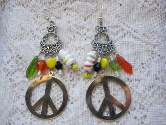 Peace Sign Earrings, Peace Sign Jewelry, Lampwork Earrings, One of a kind, Gift, Women, Sister, Peace Sign Bling, Statement Jewelry Earrings