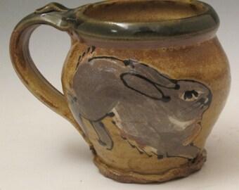 Mug with bunny rabbit stoneware pottery