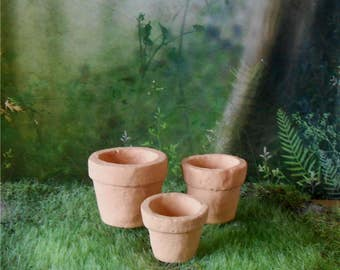 Set of 3 Miniature Clay Flower Pots~1 - 1/2 Inches~Miniature Flower Pots~Fairy Garden Pots~Miniature Garden Flower Pots~Mini Clay Pots
