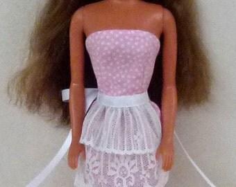 Pink dot Fashion Doll Dress Handmade ready to mail