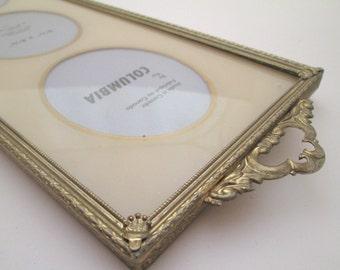 Vintage Metal Photo Frame, reverse painted glass, 3x4 frame, Art Deco, Gold Wedding Frame, multiple photo frame, small oval frame, quadruple