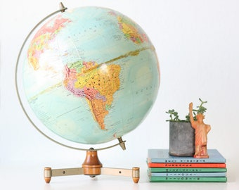 Retro Modern Globe, Tripod Base Vintage Globe, Replogle