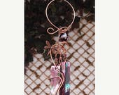 MOTHERS DAY SALE Dragonfly Windchime Glass Wind Chimes Copper Garden Lawn Yard Art Sculpture Stained Glass Ornament Metal Purple