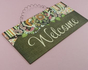 WELCOME SIGN Hardboard Wooden Home Decor Entryway Foyer Plaque Wood Flowers Butterfly Wall Hanging