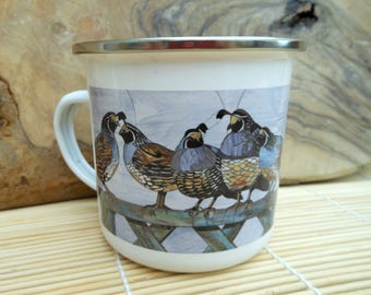 California Quail & Royal Terns Enamel Mug - Camping Mug - Quail Mug Terns Mug Camping Gift Gardening Mug Fishing Mug Gift for Gardener