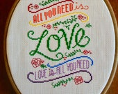 All You Need Is Love Cross Stitch Wall Hanging