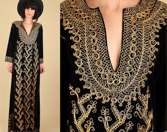 Vintage 60's 70's Gold Embroidered Black Velvet Maxi Dress // Woodstock Era // Turkish Henna Night // Rocker Bohemian Mod Festival Free Size