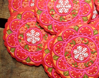Vintage Holiday Coasters - Set of 12 - Paper Coasters, Vintage Coasters, Vintage Christmas Coasters, Vintage Kitchen, Hallmark Coasters