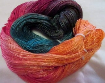 Hand dyed Tencel Yarn - 4/2 Tencel Lace Wt. Yarn  JORDAN - 420 yards