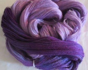 Hand dyed Tencel Yarn - 900 yds. Lace Wt. Tencel Yarn  PURPLE BLEND