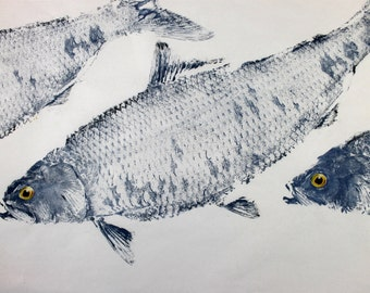 GYOTAKU fish Rubbing Three American Shad 8.5 X 11 quality Art Print by artist Barry Singer
