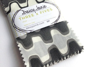 Precut Bundle - Pack of 3 x 5s - Shades of Grey Collection - organic cotton fabric by Daisy Janie