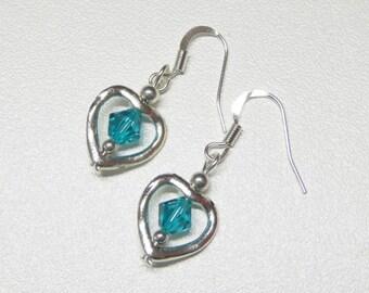 heart shaped dangle earrings with aqua swarovski crystals,aqua crystal dangle earrings,heart dangle earrings,silver dangle earrings