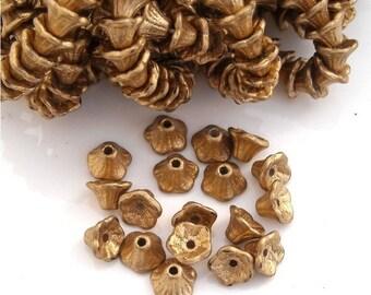 25 SILKY GOLD FINISH Czech Glass Flower Cup Beads 7x5mm