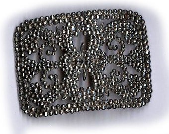 antique french steel cut finding, very strong looking patinaed victorian oxidized cut steel finding