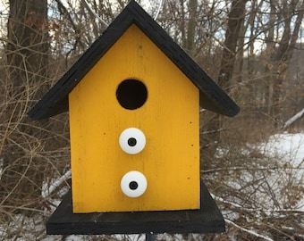 Yellow Primitive Birdhouse with Two White Knobs