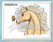 Digital Stamp - Free Spirit - Horse with Butterfly printable image