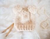 Baby Knit Hat / Child Bear Knit Beanie / Knit Bear Hat Pom Poms / Toddler Knit Baby Hat / Bear Knit Child Hat