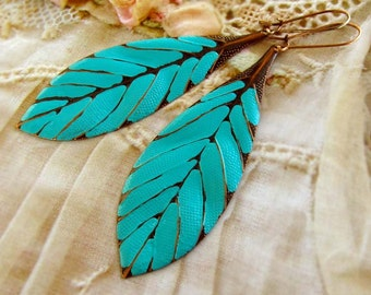 Turquoise earrings boho earrings leaf earrings patina earrings dangle drop earrings - trendy Bohemian jewelry