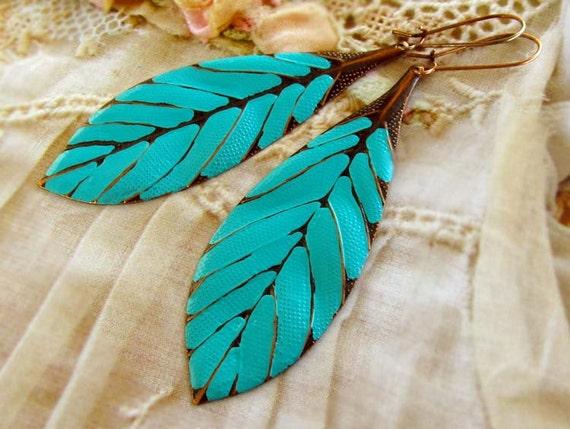 Turquoise earrings boho earrings big earrings leaf earrings beach earrings dangle drop earrings Bohemian jewelry