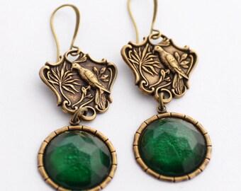 Bird Earrings, Asian Themed Earrings, Bird of Paradise, Green Jewel Earrings, Green Earrings, Exotic Earrings, JewelryFineAndDandy, SRAJD