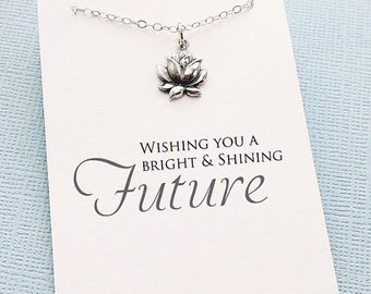 SALE - Graduation Gifts | Silver Lotus Necklace, Inspirational Graduation Gifts for Her, Student Gifts, Class of 2017, Graduation Gifts | G0
