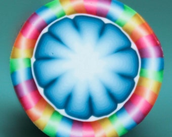 Polymer Clay Rainbow Circle Cane -'Intricacies of the Heart' (41bb)