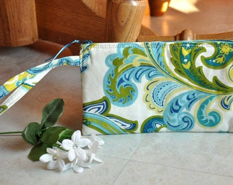 Zippered wristlet, beautiful clutch wristlet, blue, green, and white paisley handbag, wristlet purse with zipper, cellphone wristlet wallet
