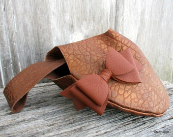 Leather Wristlet in Pebbled Copper Leather with Bow by Stacy Leigh