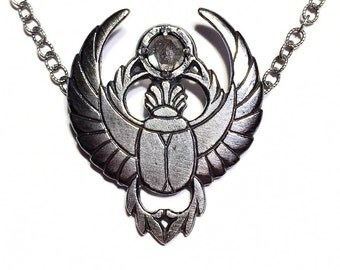 Scarab necklace in sterling silver with labradorite (Egyptian winged beetle)