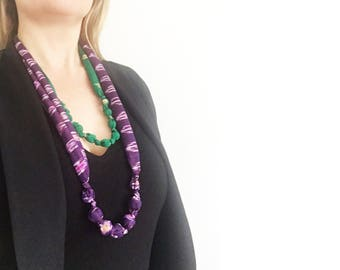 Necklaces, Indian sari fabric, green and gold, purple ikat, set of two fabric covered beaded necklaces