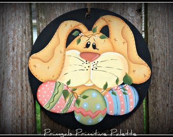 Easter Bunny Decorated Eggs Ornament/Wreath Insert Decoration