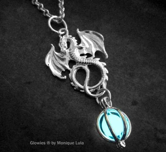 Frozen Winter Dragon Glowing Orb Necklace Frost