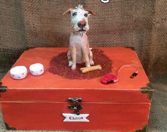 X Large  Personalized Pet Urn clay folk art sculpture or memorial based on your pets photo