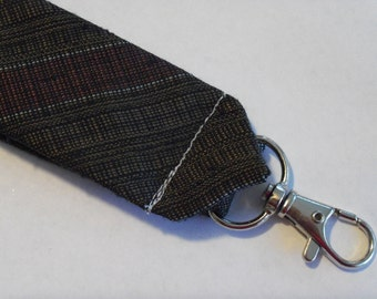 """Recycled Necktie 4"""" Key Fob Brown with Maroon Stripes"""