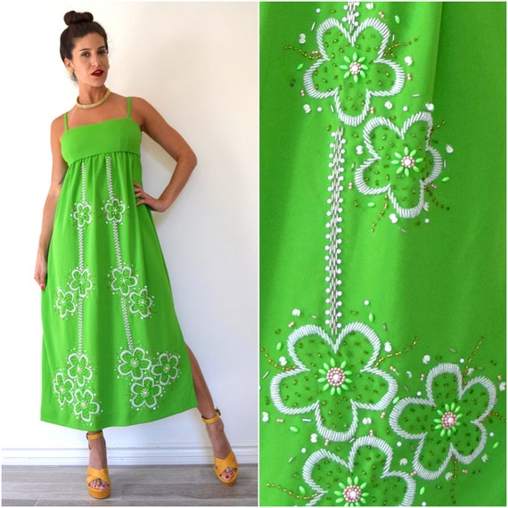 Vintage 60s 70s Lime Green Floral Beaded Empire Waist Midi Dress (size small, medium)