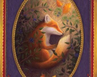 Fox Sleeping Animal Painting Art Original Nature
